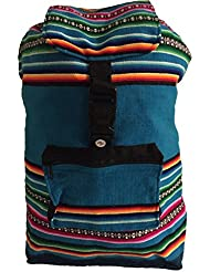 Beach Bag, Backpack-Teal Blue & Rainbow
