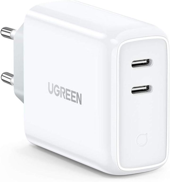 UGREEN 36W Cargador USB C Power Delivery 3.0 con Doble Tipo C Puertos, Cargador de Cargar rapida QC 4.0/QC 3.0 para iPad Pro 2018 2020 Macbook 12″ iPhone 12 11 XR X 8 Xiaomi Redmi Note 8 y Samsung S20