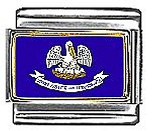 (State of Louisiana Photo Flag Italian Charm Bracelet Jewelry Link)