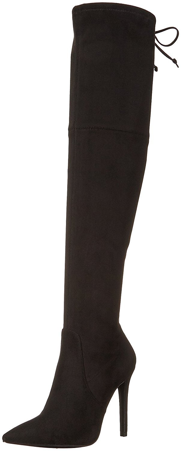 GUESS Womens Akera Pointed Toe Over Knee Fashion Boots, Black, Size 11.0