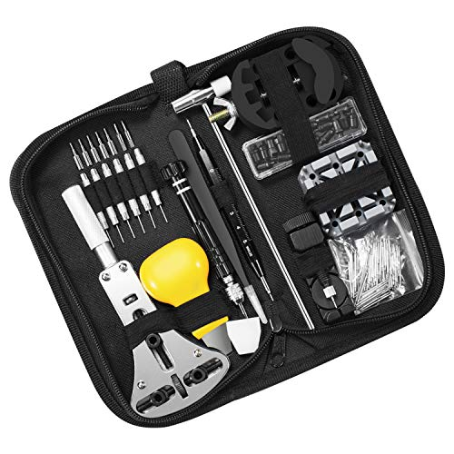 TATUFY 153 PCS Watch Repair Kit Professional Spring Bar Tool Set,Watch Battery Replacement Tool Kit,Watch Band Link Pin Tool Set with Carrying Case and Instruction Manual. from TATUFY