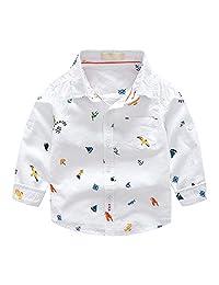 Evelin LEE Baby Boys Long Sleeve Cartoon Blouse Tops Button Down Woven Shirts