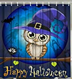 Owl Shower Curtain Halloween Shower Curtain by Goodbath, Owl Under the Moon Pattern Waterproof and Mildew Ressistant Fabric Bath Curtains, 72 x 72 Inch, Blue Brown