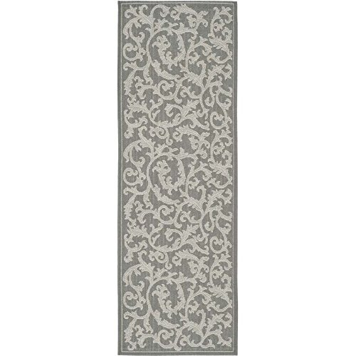 Safavieh Courtyard Collection Cy6533 87 Anthracite And Light Grey Indoor  Outdoor Runner  23  X 67