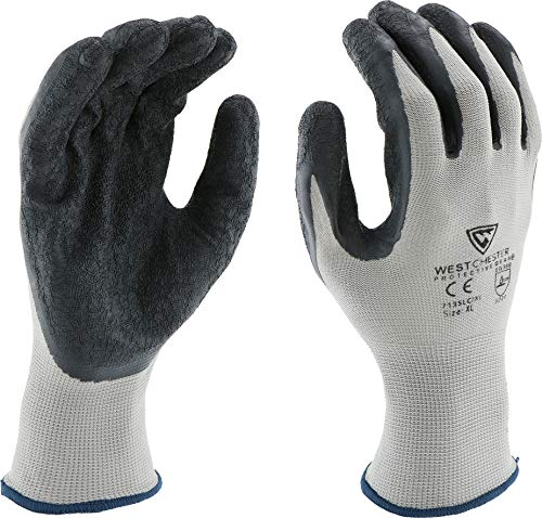 West Chester 713SLC M Latex Coated Multipurpose Work Glove, Medium, Black Gray (Pack of 12) by West Chester