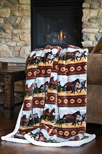 Carstens, Inc JP524 Soft Sherpa Plush Throw Blanket, Horses, Multicolor