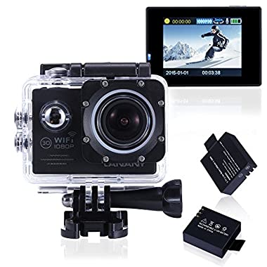 Canany Waterproof Wifi Action Camera 12MP 1080P FHD 2-Inch Bundle with 2 Batteries and Accessories, Black (17- Items)