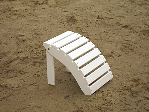 FOLDING OTTOMAN FOOT STOOL for ADIRONDACK CHAIR, Rest Your Feet In Style, Amish Made in the USA with Poly Wood Eco Lumber (White (Cedar American Classic Glider Chair)