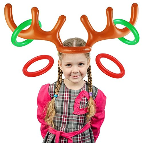 DECORA  Inflatable Reindeer Antler Hat Deer Toss Game Toys for Kids Toss Game and Christmas Party -