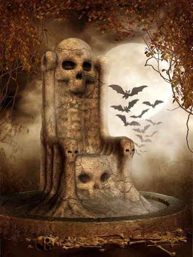 GladsBuy Scare Stone 5' x 7' Computer Printed Photography Backdrop Halloween Theme Background DGX-119