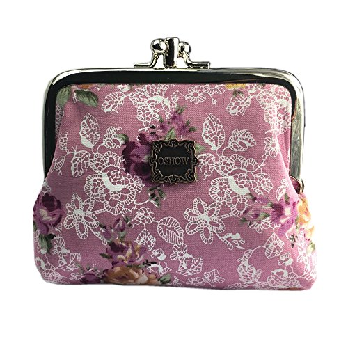 OSHOW Womens Canvas Floral Coin Purse Buckle Clutch Pouch Small Wallet, Purple