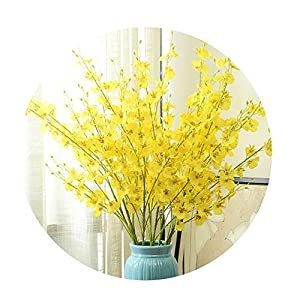 Sevem-D 95 cm Length Silk Flower Dancing Orchid Artificial Flowers Branch Fake Flowers for Home Wedding Decoration 38