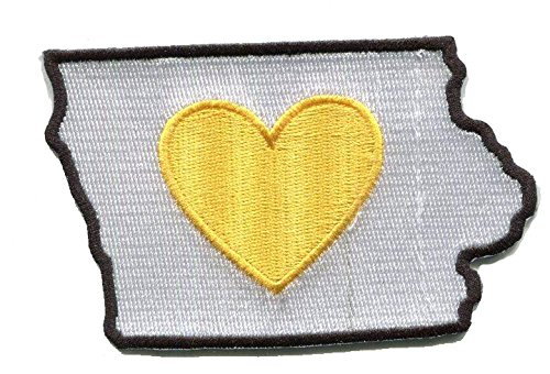 Heart in Iowa Patch - Embroidered Thread Patch for IA Locals, Instant Application with a Sticky-Back, No Ironing Required. Apply to Clothing, Coolers, Water Bottles, Glass, Wood and More. Hawkeye