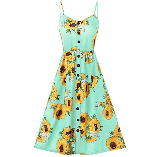 HAPPYSTORE Women Dresses Boho Sunflower Midi Button Decoration