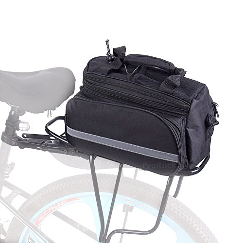 Bike Pannier Bag, Bicycle Rear Seat Trunk Bag Waterproof Nylon Carrier Rack Bag Multi Function Luggage Bag for Cycling Travel with Reflective Tape