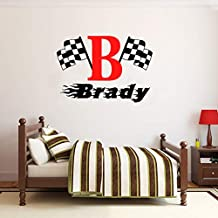 Aihesui Custom Made Personalized Name Checkered Flag Racing Wall Decal Nursery Room Vinyl Bedroom Decor Wall Stickers