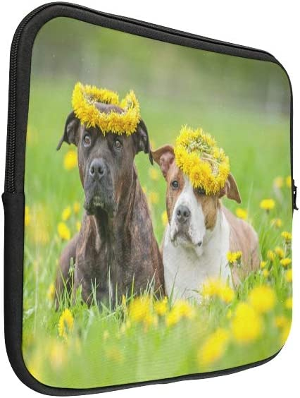 Unique Custom Dog and Yellow Spring Flowers Print Briefcase Laptop for Men Soft Laptop Protection Case Briefcase Protective for MacBook Air 11