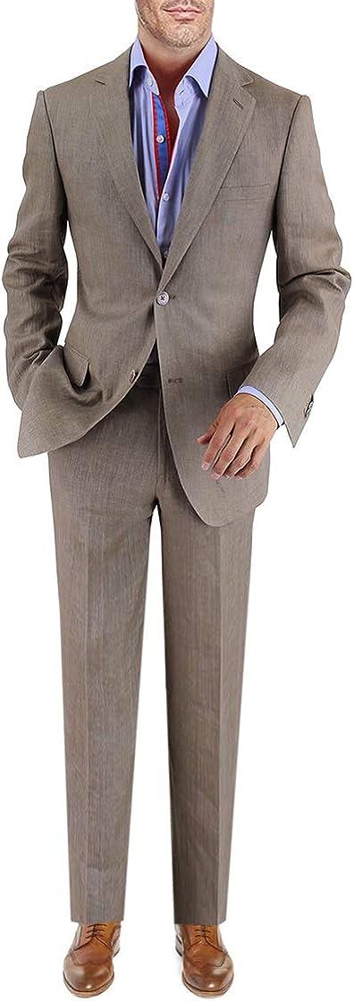 DTI BB Signature Italian Men's 2 Button Linen Suit Modern Fit Jacket Plain Pant