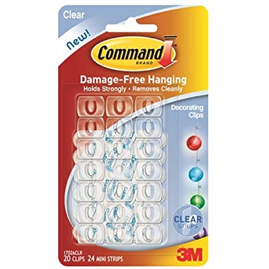 Command Decorating Clips, Clear, 20-Clips (17026CLR-ES)