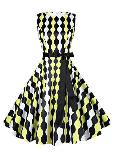 Anni Coco Vintage Boatneck Rockabilly Swing Dresses 60s With Ribbon Belt - Wavy Yellow F17 Large