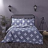 Cotton Blend Cross Single Twin Queen King Size Bed Pillowcase Quilt Duvet Cover Set (Gray, Twin)