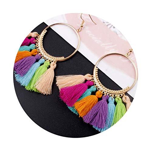 Bohemian Handmade Statement Tassel Earrings for Women Vintage Round Long Drop Earrings Wedding ()