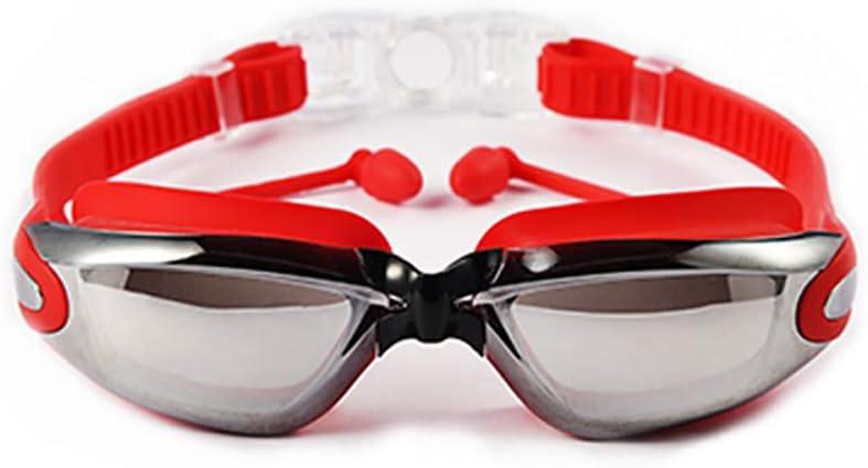 AUGU Gafas de natación Gafas de natación Conectadas Tapones para los oídos Sin Fugas Anti-vaho Protección UV para Hombres Adultos Mujeres y niños