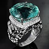 Sumanee New Fashion Women Jewelry 925 Sterling Silver Aquamarine Gem Wedding Bridal Ring (7)