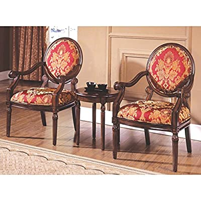"Best Master Furniture KF91027 Maddison Traditional Living Room Accent Chair & Table Set, 24"" x 25"" x 38"""