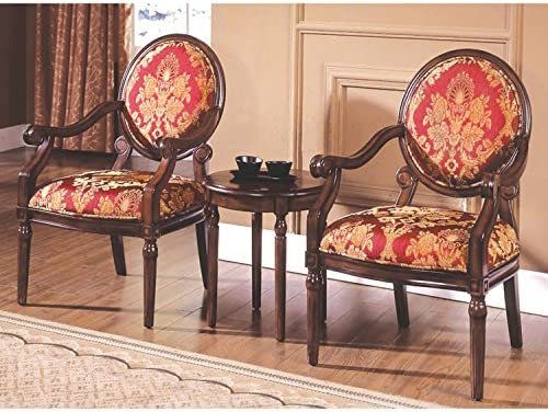 Best Master Furniture Maddison Traditional Living Room Accent Chair & Table Set, 24″ x 25″ x 38″