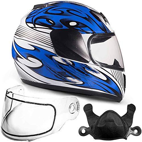 Typhoon Helmets Youth Kids Full Face Snowmobile Helmet DOT Dual Lens Snow Boys Girls - Blue (Small)