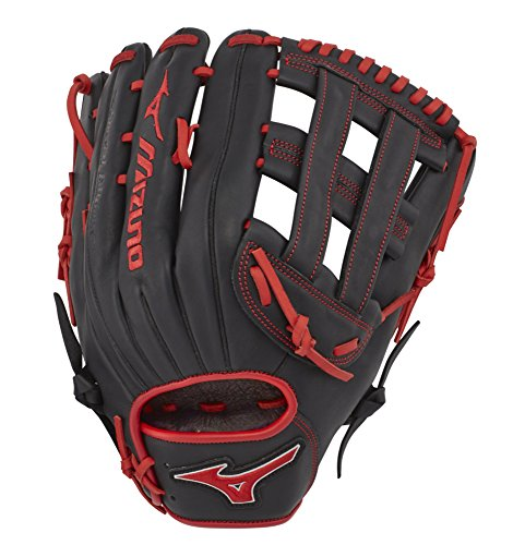 "Mizuno GMVP1300PSES7 MVP Prime SE Slowpitch Soft Ball Gloves, 13"" Black/Red, Right Hand Throw"