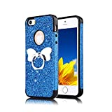 Funyye Bling Glitter Sparkle Rubber Case for iPhone 5/5S,Luxury 360 Degree Rotating Grip Butterfly Ring Stand Holder Anti-Scratch Ultra Thin Soft Silicone TPU Durable Case for iPhone 5/iPhone 5S/iPhone SE + 1 x Free Screen Protector,Blue