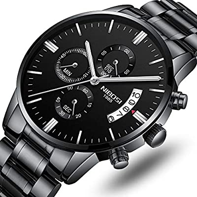 Men's Watches Luxury Fashion Casual Dress Chronograph Waterproof Military Quartz Wristwatches for Men Stainless Steel Band Black Color