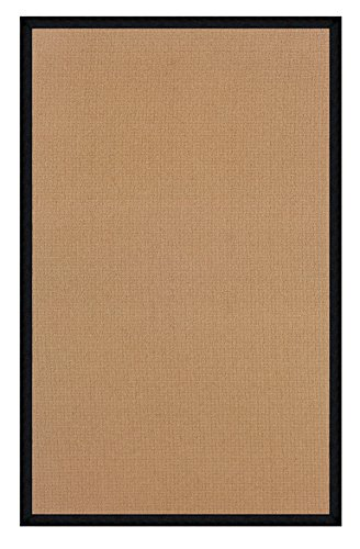 Linon 8 ft. x 2.6 ft. Athena Rug in Cork with Black Leather Border -