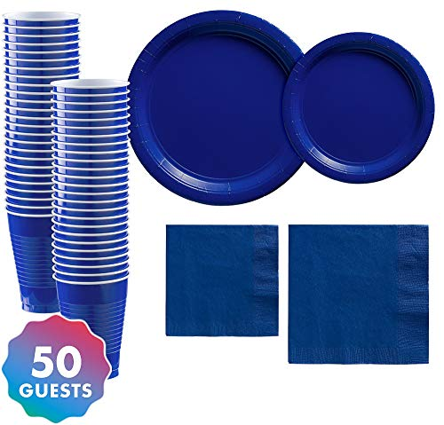 Party City Solid Royal Blue Tableware Supplies for 50 Guests, Include 2 Sizes of Plates and Napkins, plus Plastic Cups