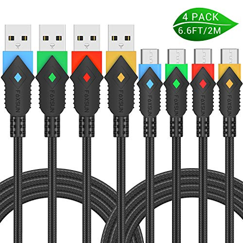Micro USB Android Charger Cable, Foxsun 4Pack 6.6ft/2m Micro