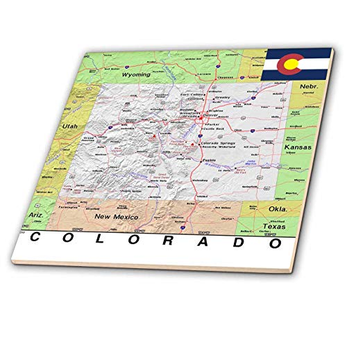 3dRose Lens Art by Florene - Topo Maps, Flags of States - Image of Topographic Map of Colorado with State Flag - 4 Inch Ceramic Tile (ct_291398_1)