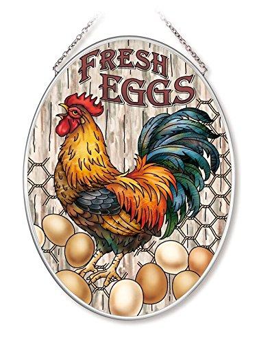Amia Fresh Eggs Rooster Glass Oval Suncatcher