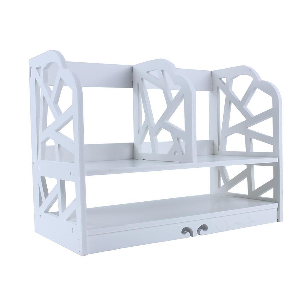 Bookcase Bookshelf 2 Tire Storage Display Stand Shelf Wood Plastic Composite