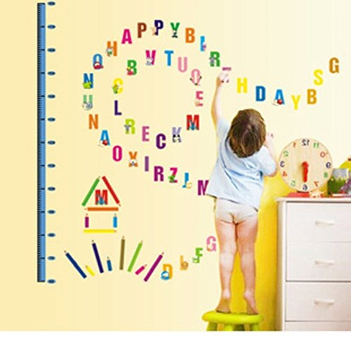 LPStar Animal Alphabet Letters Wall Decor with Child Height Chart Art Sticker Decals Kid's Room Decoration Baby Nursery Peel and Stick
