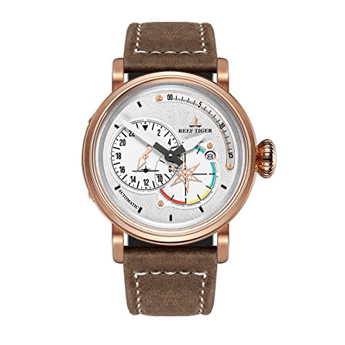 Reef Tiger Mens Sport Watches Rose Gold Brown Leather Automatic Watch Date RGA3019 (RGA3019-PWS) - Gold Brown Tigers