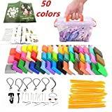 Polymer Clay, LHXbang Polymer Clay Starter Kit,50 Colors of Oven-Bake Clay Blocks,DIY Air Dry Clay Soft Molding Craft Clay Set with Modeling Tools and Accessories Best Gift for Kids