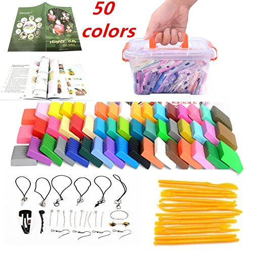 Polymer Clay,LHXbang 50 Colors Oven Bake DIY Colorful Clay Safe and Nontoxic Soft Moulding Craft Set, Sculpture Tool set Modelling Moulding Tool set Best Gift for Children