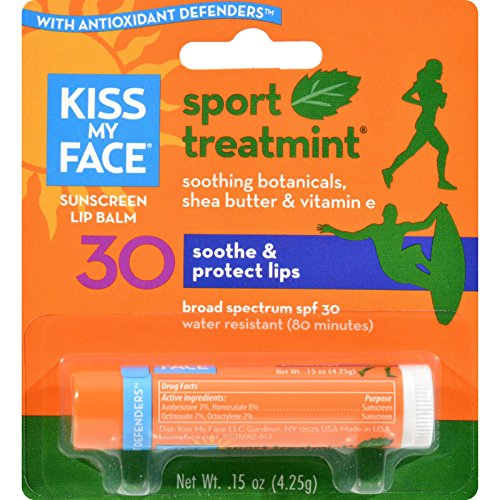 Kiss My Face Lip Balm Sport - Mint - SPF 30 - Case of 12 - .15 oz -