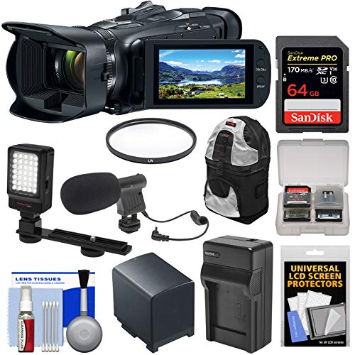 Canon Vixia HF G50 Wi-Fi 4K Ultra HD Video Camera Camcorder with 64GB Card + Battery & Charger + Video Light + Mic + Backpack Kit