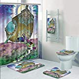 5 Piece Banded Shower Curtain Set Mystic Noahs Ark Myth Themed Big ShipWith All Couple Animals On The Shore Sacred Graphic Multi Decorate The Bath