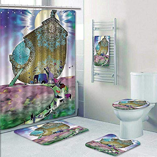 5 Piece Banded Shower Curtain Set Mystic Noahs Ark Myth Themed Big ShipWith All Couple Animals On The Shore Sacred Graphic Multi Decorate The Bath by Philip-home