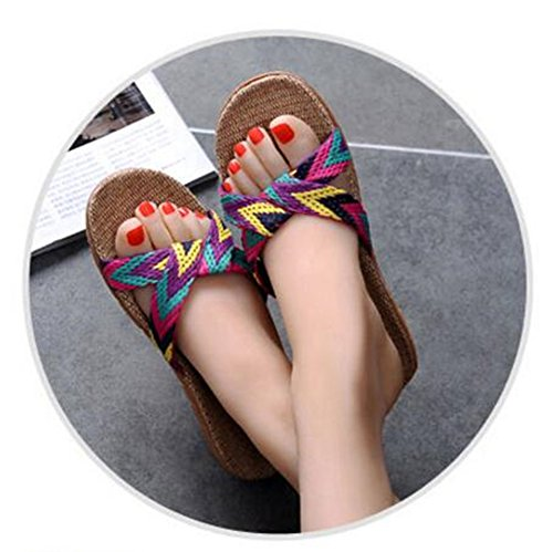 Linen Summer Gray 2 Indoor Holiday TELLW Men's Lady Cotton Light Breathable Hemp Autumn Spring Slippers Men gZBw0qnEB