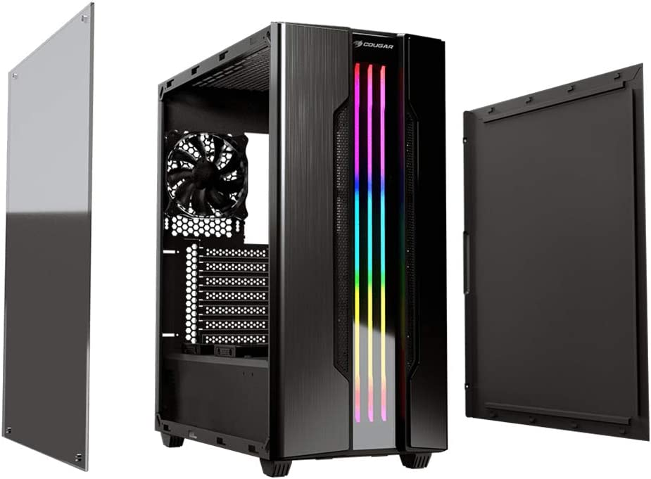 Iron-gray Cougar Gemini S Mid Tower Gaming Case with a Full-sized Tempered Glass Cover and an Integrated RGB Lighting System